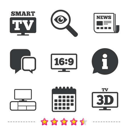 Smart TV mode icon. Aspect ratio 16:9 widescreen symbol. 3D Television and TV table signs. Newspaper, information and calendar icons. Investigate magnifier, chat symbol. Vector