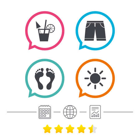 Beach holidays icons. Cocktail, human footprints and swimming trunks signs. Summer sun symbol. Calendar, internet globe and report linear icons. Star vote ranking. Vector Illustration