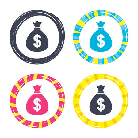 Money bag sign icon. Dollar USD currency symbol. Colored buttons with icons. Poker chip concept. Vector Illustration