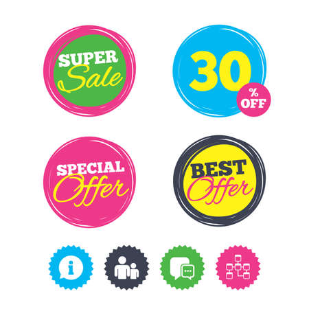 Super sale and best offer stickers. Information sign. Group of people and database symbols. Chat speech bubbles sign. Communication icons. Shopping labels. Vector