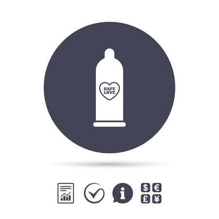 Condom safe sex sign icon. Barrier contraceptive symbol. Report document, information and check tick icons. Currency exchange. Vector Illustration