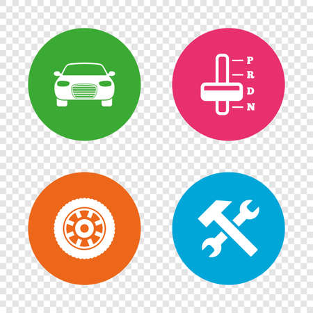automatic transmission: Transport icons. Car tachometer and automatic transmission symbols. Repair service tool with wheel sign. Round buttons on transparent background. Vector