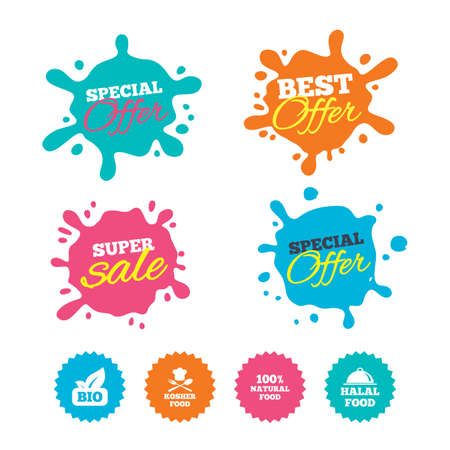 Best offer and sale splash banners. 100% Natural Bio food icons. Halal and Kosher signs. Chief hat with fork and spoon symbol. Web shopping labels. Vector