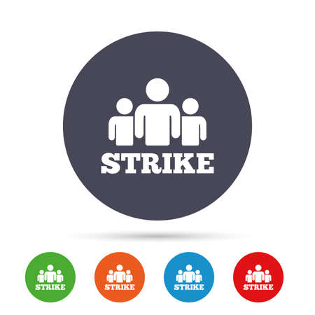 Strike sign icon. Group of people symbol. Industrial action. People protest. Round colourful buttons with flat icons. Vector Illustration