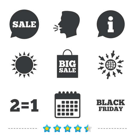 equals: Sale speech bubble icons. Two equals one. Black friday sign. Big sale shopping bag symbol. Information, go to web and calendar icons. Sun and loud speak symbol. Vector Illustration