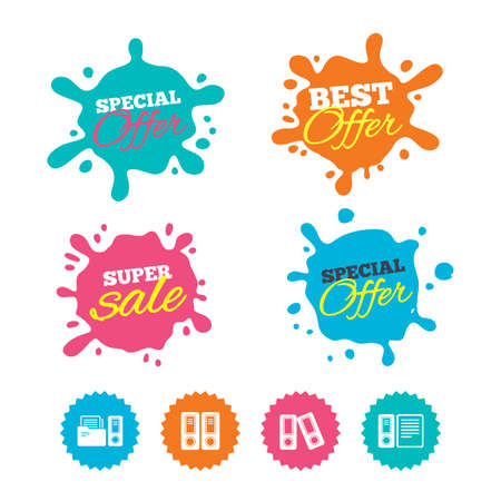 Best offer and sale splash banners. Accounting icons. Document storage in folders sign symbols. Web shopping labels. Vector