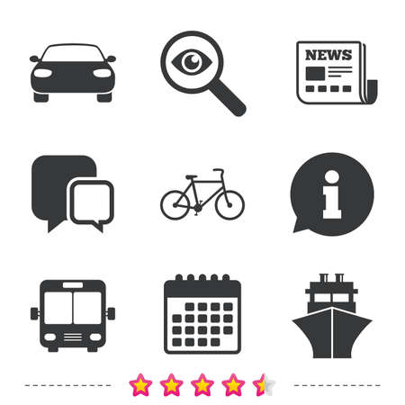 Transport icons. Car, Bicycle, Public bus and Ship signs. Shipping delivery symbol. Family vehicle sign. Newspaper, information and calendar icons. Investigate magnifier, chat symbol. Vector