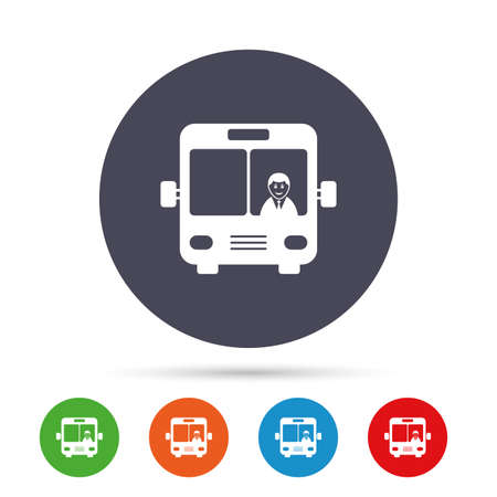 truck driver: Bus sign icon. Public transport with driver symbol. Round colourful buttons with flat icons. Vector