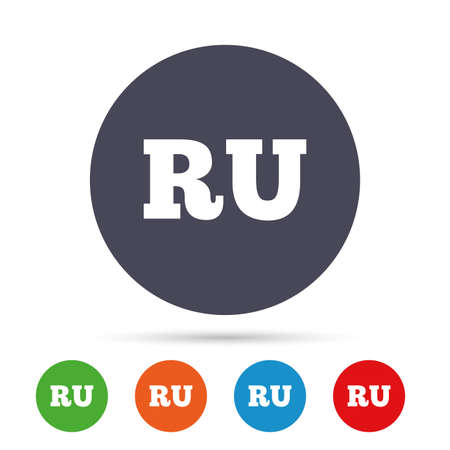 Russian language sign icon. RU Russia translation symbol. Round colourful buttons with flat icons. Vector Ilustração