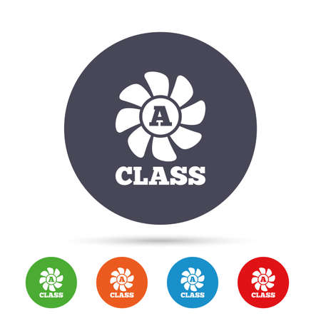 A-class ventilation icon. Energy efficiency sign symbol. Round colourful buttons with flat icons. Vector Illustration