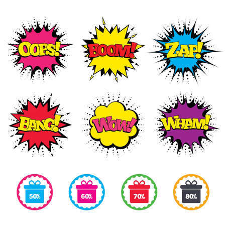 Comic Wow, Oops, Boom and Wham sound effects. Sale gift box tag icons. Discount special offer symbols. 50%, 60%, 70% and 80% percent discount signs. Zap speech bubbles in pop art. Vector Illustration