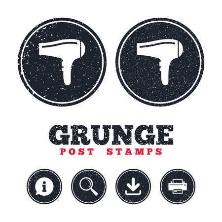 Grunge post stamps. Hairdryer sign icon. Hair drying symbol. Information, download and printer signs. Aged texture web buttons. Vector