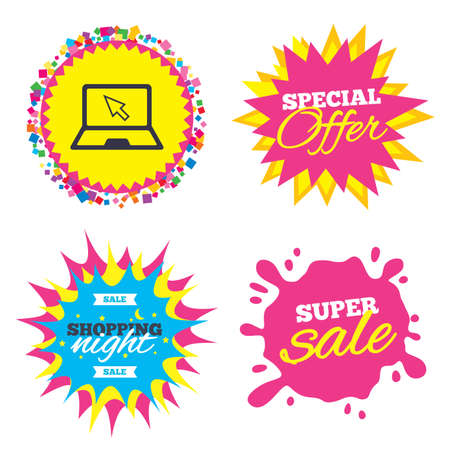 Sale splash banner, special offer star. Laptop sign icon. Notebook pc with cursor pointer symbol. Shopping night star label. Vector Illustration