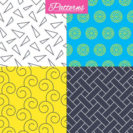 Floral ornament, vintage circles and braid seamless textures. Linear geometric triangles pattern. Modern textures. Abstract patterns with colored background. Vector