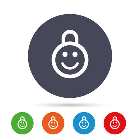 Child lock icon. Locker with smile symbol. Child protection. Round colourful buttons with flat icons. Vector
