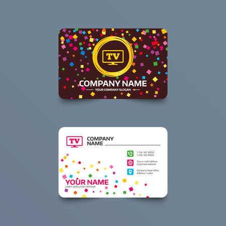 Business card template with confetti pieces. Widescreen TV sign icon. Television set symbol. Phone, web and location icons. Visiting card  Vector