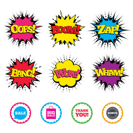 Comic Wow, Oops, Boom and Wham sound effects. Sale speech bubble icon. Thank you symbol. Bonus star circle sign. Big sale shopping bag. Zap speech bubbles in pop art. Vector