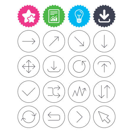 Download, light bulb and report signs. Arrows line icons. Download, upload, check or tick symbols. Refresh, fullscreen and shuffle thin outline signs. Best quality star symbol. Flat buttons. Vector
