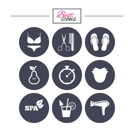 barbershop: Hairdresser, spa icons. Diet cocktail sign. Lingerie, scissors and hairdryer symbols. Classic simple flat icons. Vector