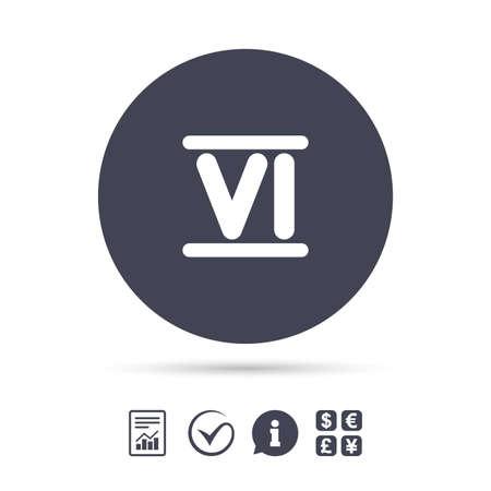 Roman numeral six sign icon. Roman number six symbol. Illustration