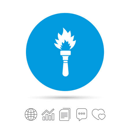 flaming: Torch flame sign icon. Fire flaming symbol. Illustration