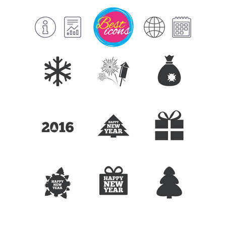 Information, report and calendar signs. Christmas, new year icons.