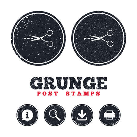 Grunge post stamps. Scissors with cut dash dotted line sign icon. Tailor symbol.