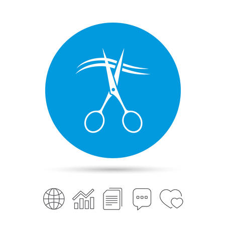 Scissors cut hair sign icon. Hairdresser or barbershop symbol.