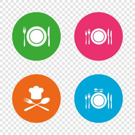 Assiette plate avec des icônes de fourchettes et des couteaux. Signe de chapeau en chef. Symbole de la coutellerie en travers. Banque d'images - 74317352