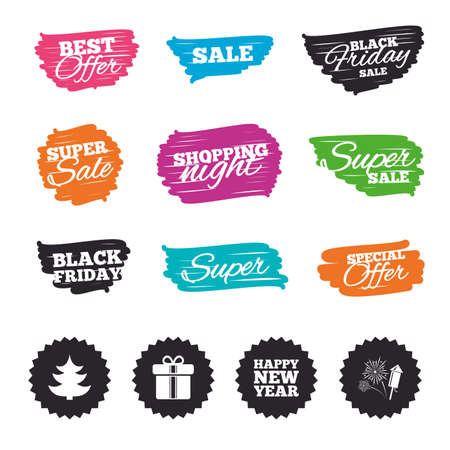 Ink brush sale banners and stripes. Happy new year icon. Christmas tree and gift box signs. Illustration