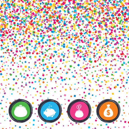Web buttons on background of confetti. Wallet with cash coin and piggy bank moneybox.