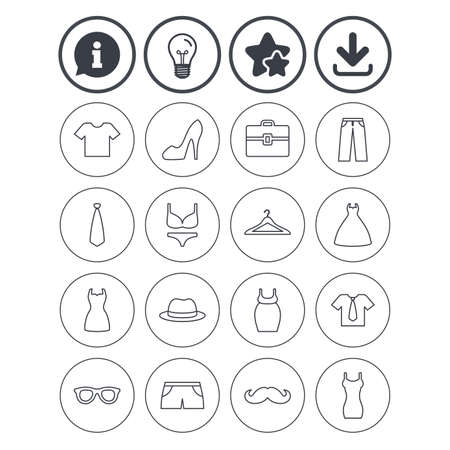 Information, light bulb and download signs. Clothes and accessories icons. Illustration