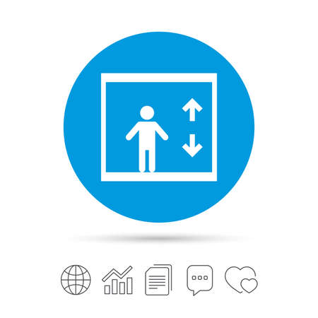 Elevator sign icon. Person symbol with up and down arrows.