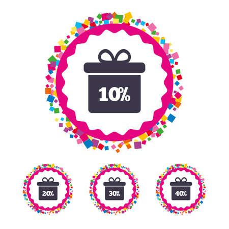 Web buttons with confetti pieces. Sale gift box tag icons. Discount special offer symbols.