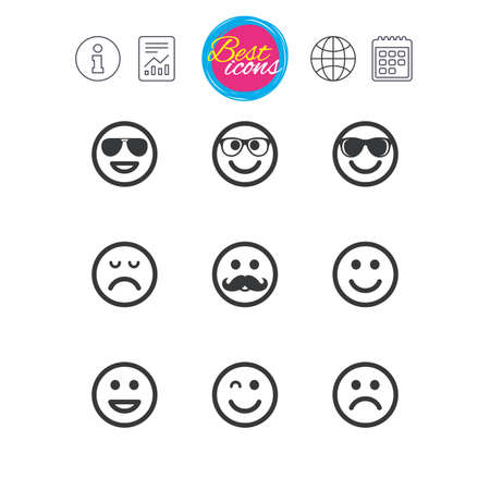 Information, report and calendar signs. Smile icons. Happy, sad and wink faces signs.