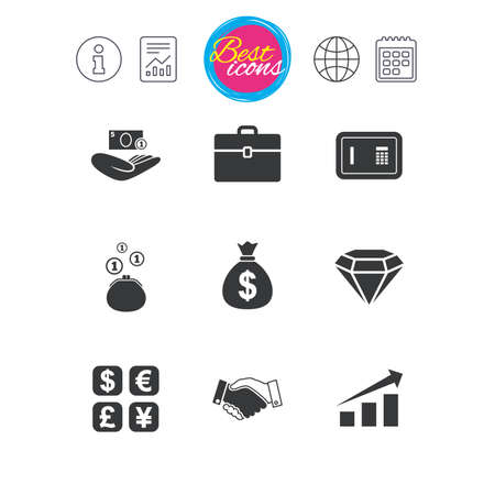 Information, report and calendar signs. Money, cash and finance icons.