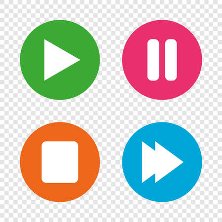 Player navigation icons. Play, stop and pause signs. Next song symbol. Illustration