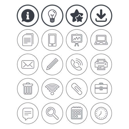 Information, light bulb and download signs. Office equipment icons.