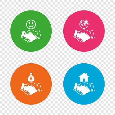 ハンドシェイクのアイコン。世界、笑顔の幸せそうな顔、家の建物のシンボル。