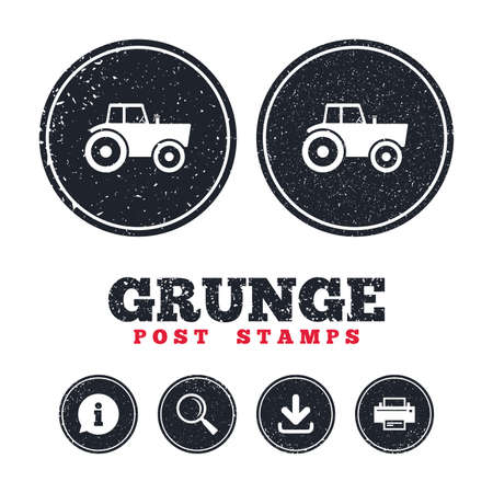 Grunge post stamps. Tractor sign icon. Agricultural industry symbol.