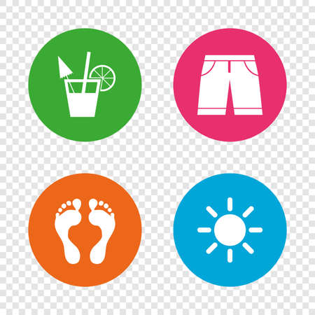 Beach holidays icons. Cocktail, human footprints and swimming trunks signs. Illustration