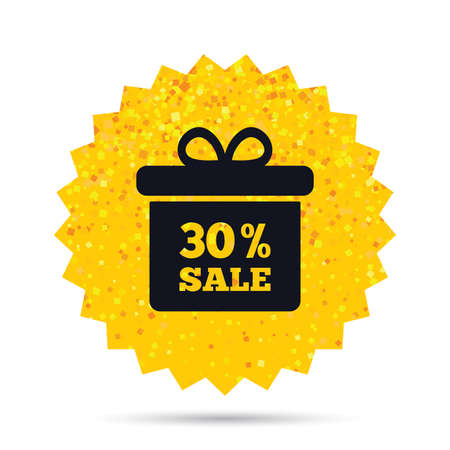 Gold glitter web button. 30% sale gift box tag sign icon. Discount symbol. Special offer label. 向量圖像