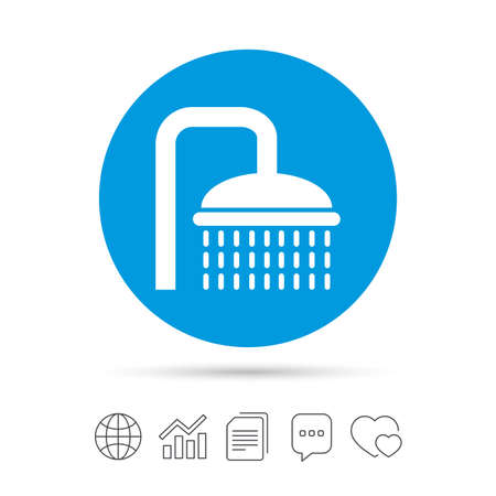 Shower sign icon. Douche with water drops symbol.