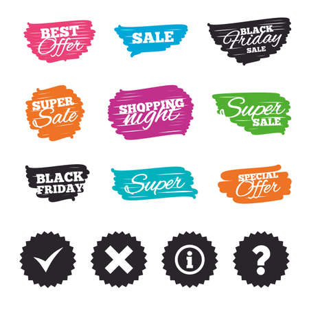 Ink brush sale banners and stripes. Information icons. Delete and question FAQ mark signs.