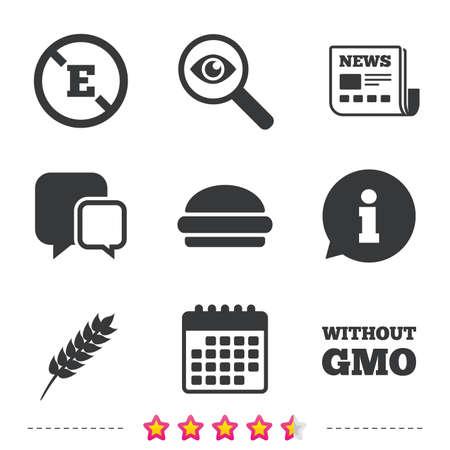 Pictogram voor levensmiddelenadditieven. Hamburger fastfood teken. Glutenvrij en geen GMO-symbolen.