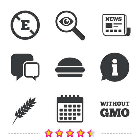 Food additive icon. Hamburger fast food sign. Gluten free and No GMO symbols.