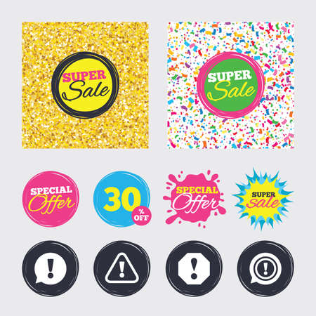 Gold glitter and confetti backgrounds. Covers, posters and flyers design. Attention icons.