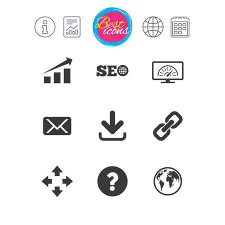 Information, report and calendar signs. Internet, seo icons.