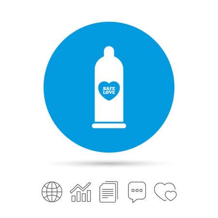 Condom safe sex sign icon. Barrier contraceptive symbol. Illustration