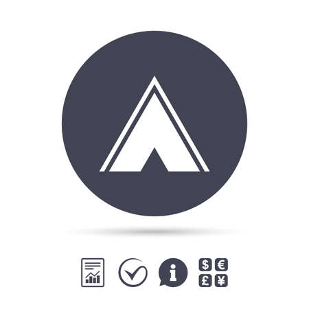 Tourist tent sign icon. Camping symbol. Report document, information and check tick icons. Illustration